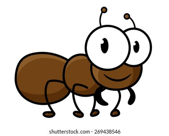 Cute little brown ant cartoon character with funny short legs and antennas isolated on white background for childish decor design