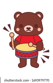 Cute little brown bear with  drum. Hand drawn cartoon style vector illustration for prints, kids products, cards, posters, packaging. Vector illustration.