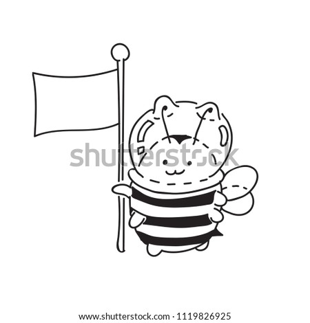 Cute Little Bumblebee Ink Hand Drawn Stock Vector Royalty Free