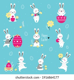 Cute Little Bunnies with Decorated Eggs Set, Adorable White Easter Rabbits, Easter Egg Hunt Card, Poster, Invitation Design Cartoon Style Vector Illustration