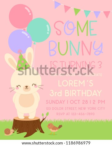 Bunny Birthday Invitation Template Free