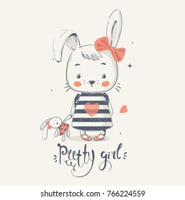 Cute little bunny gilrl with toy. cartoon hand drawn vector illustration. Can be used for baby t-shirt print, fashion print design, kids wear, baby shower celebration, greeting and invitation card.
