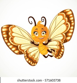 Cute little Butterfly with yellow and brown ornament wings fly on white background