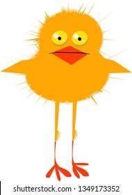 Cute little cartoon chicken, vector illustration