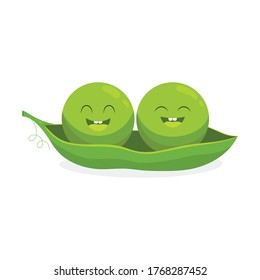 cute little cartoon emoji green peas in pod isolated on white background, vector illustration