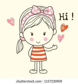 Cute Little Cartoon Girl