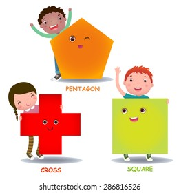 Cute little cartoon kids with basic shapes (square, cross, pentagon) for children education