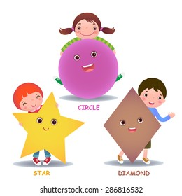 Cute little cartoon kids with basic shapes (star, circle, diamond) for children education