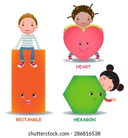Cute little cartoon kids with basic shapes (heart, hexagon, rectangle) for children education
