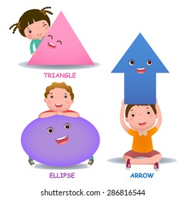 Cute little cartoon kids with basic shapes (ellipse, arrow, triangle) for children education
