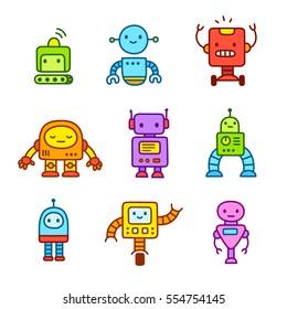 Cute little cartoon robots set. Hand drawn doodle style vector illustration.