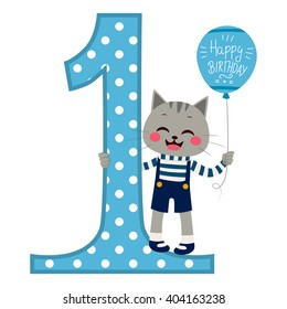 Cute little cat boy wearing blue overall holding balloon with happy birthday text next to big number one