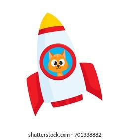 Cute little cat, kitten astronaut, spaceman character flying in rocket, cartoon vector illustration isolated on white background. Baby cat, kitten astronaut, spaceman in rocket, space adventure