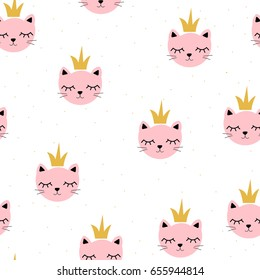 Cute little cat princess seamless pattern. Vector hand drawn illustration.