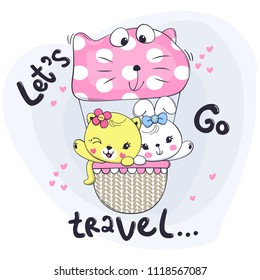 "Cute little cat and rabbit in pink polka dot hot air balloon with text ""let's go travel"" vector illustration."