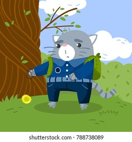 Cute little cat student in school uniform standing under the tree on the lawn and playing yoyo toy vector illustration, design element for poster or banner