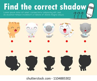 Cute little cat,Find the correct shadow. Educational game for children, Shadow Matching Game for kids, Visual game for kid. Connect the dots picture,Education Vector Illustration.
