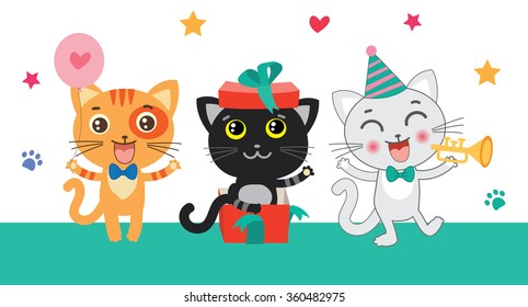 Cute Little Cats Invitation Cartoon Animal Vector Collection Beautiful Birthday Cat Celebration Card