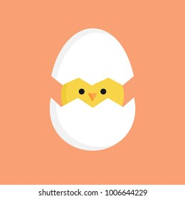 Cute little chick in cracked egg vector graphic illustration. Easter themed, yellow chicken cartoon with cracked eggshell, isolated on orange background.