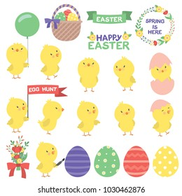 Cute Little Chick Easter Design Set Vector Flat Illustration Isolated on White