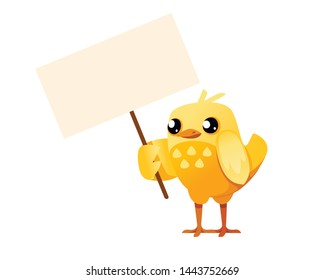 Cute little chick standing and hold the empty protest sign cartoon character design flat vector illustration