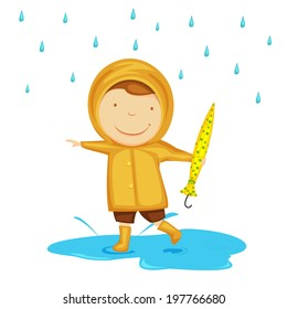 Cute little child dancing in rains, holding umbrella in his hand on abstract background.