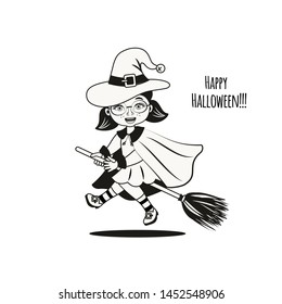Cute little child dressed in costume witch on a broomstick. Halloween  vector illustration. Element for design, prints and greeting cards. Design for print, t-shirt, party decoration, sticker.