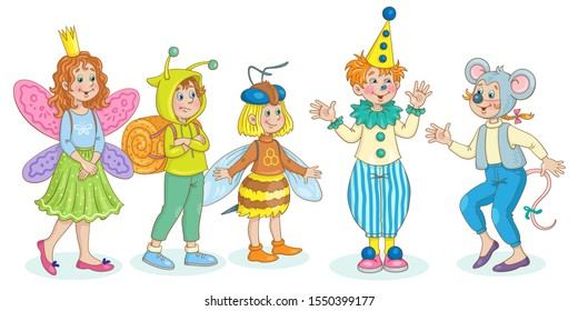 Cute little children in carnival costumes. Honey bee, clown, butterfly, snail and mouse. For a school party. In cartoon style. Isolated on  white background. Vector illustration.