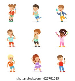 Cute little children eating ice cream. Happy children enjoying eating with their ice cream. Cartoon detailed colorful Illustrations