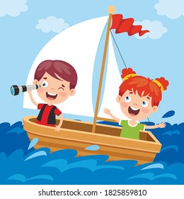 Cute Little Children On Boat