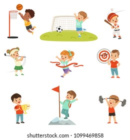 Cute little children playing different sports, footbal, soccer, golf, basketball, baseball, archery, mountaineering sport vector Illustrations isolated on a white background.