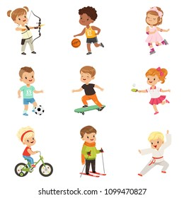 Cute little children playing different sports, soccer, basketball, archery, karate, cycling, roller skating, skateboarding sport vector Illustrations isolated on a white background.