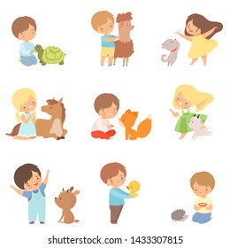 Cute Little Children Playing with Playing, Hugging and Feeding Animals, Kid Interacting with Animal in Contact Zoo Cartoon Vector Illustration