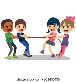 Cute little children playing with rope tug of war having fun