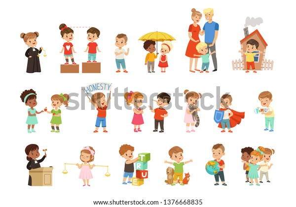 Cute little children protecting their family, friends, animals and the planet set vector Illustrations on a white background