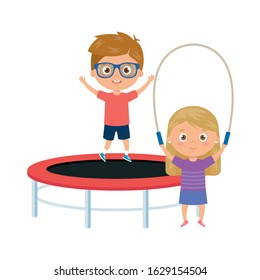 cute little children with trampoline jump and rope jump vector illustration design