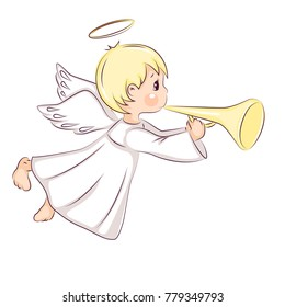Cute little Christmas angel. He flying and trumpet on pipe. Vector isolated on white background.