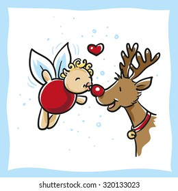 Cute little christmas cartoon fairy, kissing a rein deer, for christmas cards, advent calenders, hand drawn vector illustration.