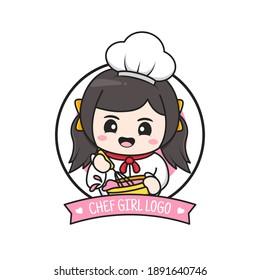 cute little chubby chef girl logo