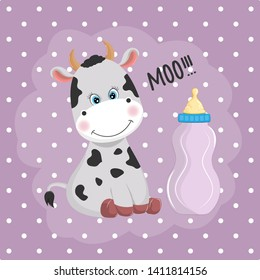 Cute little cow and feeding bottle  isolated on a purple background. Graphic element for print design, greeting card, poster and t-shirt.