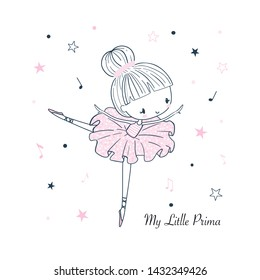 Cute little dancing Ballerina. Simple linear isolated vector graphic on a white background. Fashion illustration for kids clothing. Use for print, surface design, fashion wear