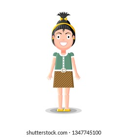 Cute little dark haired girl character in green, brown and yellow dress is standing on white background. Flat style vector illustration.