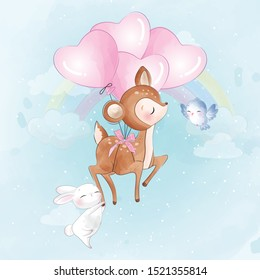 Cute little deer flying with balloon