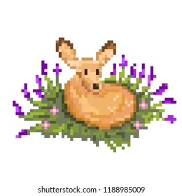 Cute little deer pixel art. Vector illustration