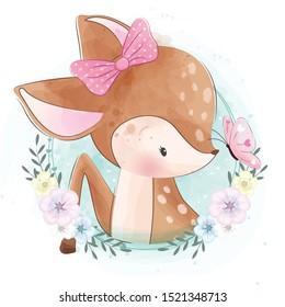Cute little deer portrait with flower