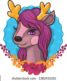 Cute little deer, reindeer character with flowers cartoon doodle vector illustration isolated on white background. Beautiful vector artwork for kids