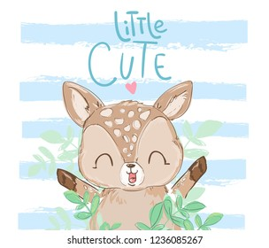 """Cute Little Deer and written phrase """"Little Cute"""" Vector Illustration. Children Print Design."""