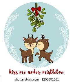 Cute little deers kisses under the mistletoe. Christmas card