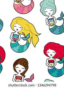 Cute little different hair mermaid with crown and flower seamless pattern. Book magazine cartoon illustration, fashion print