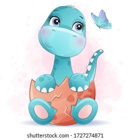 Cute little dinosaur portrait with watercolor effect